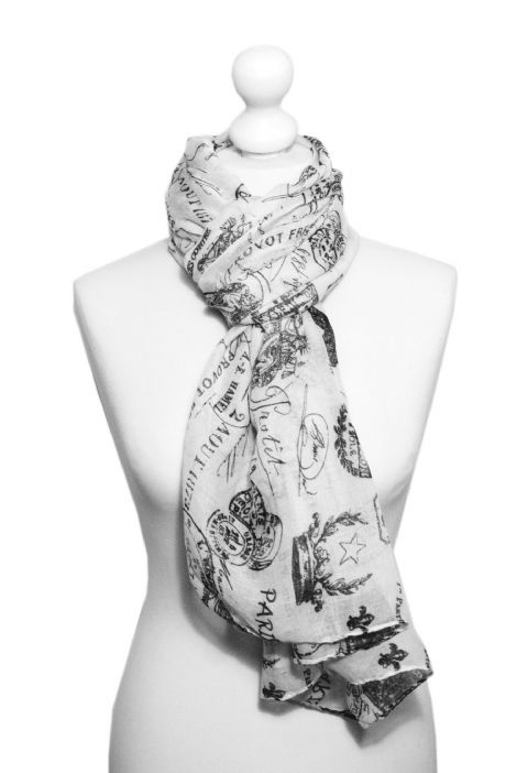 Believe -  Large Silky Touch Paris inspired Print Scarf  (White/Black)